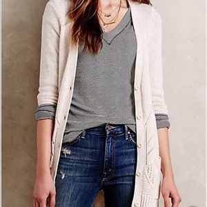 Anthropologie MOTH off-white cardigan with buttons